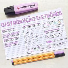 DISTRIBUIÇÃO ELETRÔNICA . Químic Mental Map, Study Cards, Stabilo Boss, Study Organization, Study Methods, Bullet Journal School, School Study Tips, Lettering Tutorial, School Notes