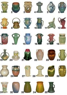 Roseville Pottery Patterns,  A-E