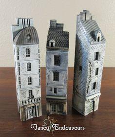 THREE Jean Pierre Gault France Miniature Porcelain Row Houses #JeanPierreGault