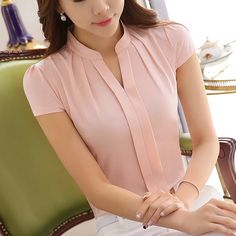 2016 New Office Women Shirts Blouses Pink Purple Elegant Ladies Chiffon Blouse Short Sleeve Más Source by blouses style