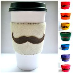 coffee cups Mustache Cup Sleeve - Felt Coffee Cup Cozy / Beverage Cozy / Mustache Gift on Felt Crafts Diy, Felt Diy, Fabric Crafts, Sewing Crafts, Crafts To Sell, Crochet Coffee Cozy, Coffee Cup Cozy, Mug Cozy, Coffee Cups