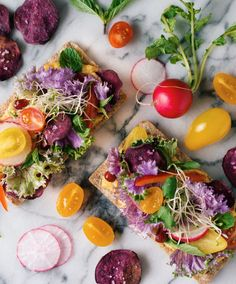 Brighten up your Easter brunch with this colorful Vegetarian Salad Crispbreads with Roasted Squash Cream recipe.