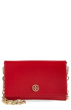 Love the classic style of this red Tory Burch leather wallet on a chain.