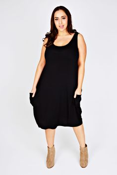 Black Jersey Short Sleeve Dress With Drop Pockets Plus size 16,18 ...