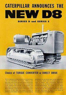 Caterpillar D8E Brochure #CatMachines #History Antique Tractors, Vintage Tractors, Old Tractors, Vintage Trucks, Vintage Ads, Old Farm Equipment, Mining Equipment, Heavy Equipment, Old Advertisements