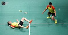 Chinas Liu with partner Qiu celebrate after winning against South Koreas Ko and Lee during their mens doubles match at the finals in Kuala Lumpur. BAZUKI MUHAMMAD/REUTERS