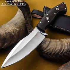 ALONZO KNIVES USA CUSTOM HANDMADE TACTICAL BUSHCRAFT 1095 KNIFE MICARTA 832 #AlonzoKnives