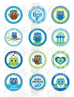 ADLY Invitations and Digital Party Designs - Blue Owl Baby Shower Cupcake Toppers or Favor Tags Printables DIY, it's a boy owl green brown tags - ONLY digital file - you print, $3.50 (http://www.adlybabyshower.com/blue-owl-baby-shower-cupcake-toppers-or-favor-tags-printables-diy-its-a-boy-owl-green-brown-tags-only-digital-file-you-print/)