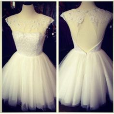 Short Ivory Sequins Bead Tulle Backless Lace Prom Dress Knee-length Cheap Graduation Dress Formal Dress Cocktail Dress Homecoming Dress 2014...