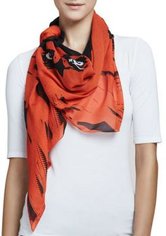 McQ by Alexander McQueen Angry Eagle Square Scarf, Electric Orange on shopstyle.com