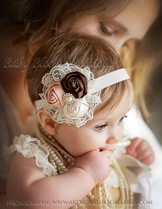 Baby Headband, Lace flower headband, newborn headband, Satin Rosette headband, Baby girl Headbands, toddler headband, Shabby Chic, hair bow. $10.95, via Etsy.