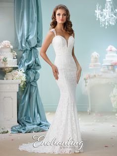 Enchanting by Mon Cheri - 116140 - Sleeveless lace trumpet gown with tapered shoulder straps, deep plunging sweetheart neckline with illusion modesty panel, chapel length train.  Sizes: 0 – 20  Colors: Ivory, White