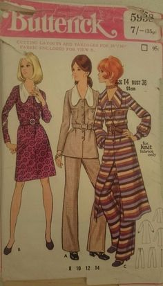 Vintage 1970s Sewing Pattern Butterick 5958 Misses  Dress Top Pants 36  14