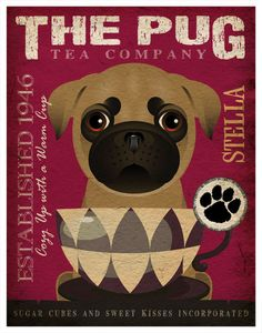 Tea Cup Dogs Pug Wall Decor 11x14 by DogsIncorporated on Etsy