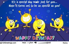 A Cute Birthday Message Along With Smileys Singing And Dancing Free Online Special Ecards On