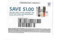 Axe, Degree, or Dove Dry Spray Antiperspirant