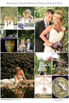 Renaissance Garden Wedding Styled Shoot in Purple & Silver