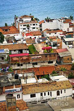 Rooftops In Puerto Vallarta fine art photography print - Copyright © Elena Elisseeva