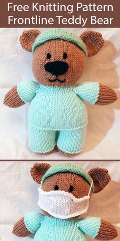 Free Knitting Pattern for Frontline Teddy Bear - Teddy bear in medical scrubs with mask. Designed by Sam Pratt to display support for nurses, doctors, and other medical personnel on the front lines helping those with Size tall. Knitting Bear, Teddy Bear Knitting Pattern, Knitted Doll Patterns, Animal Knitting Patterns, Knitted Teddy Bear, Crochet Bear, Knitted Dolls, Knitting Toys, Knitted Nurse Doll Pattern