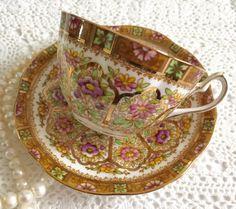 Alberto corona China taza de té y taza de té plato establecen patrón de corte