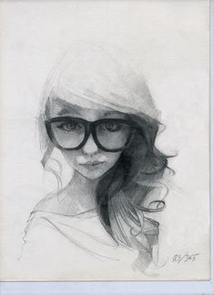 365 sketches selection - Ramon Mascaros Valencia, Spain; female face large glasses portrait drawing <3