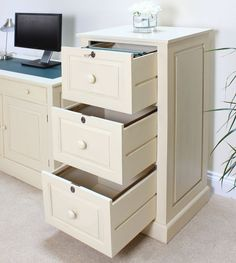 Cadence Large Office Filing Cabinet Solid Mahogany Cream Painted Furniture
