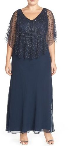 J Kara Embellished Cape Overlay V-Neck Gown (Plus Size)