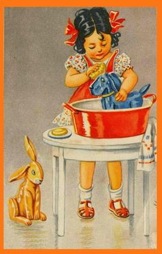 little girl and washing tub