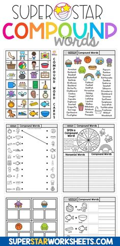 Compound words worksheets, games, activities and more for kids! Free worksheets from SuperStarWorksheets.com You'll find matching worksheets, cut & paste activities, charts, file folder games and more. Shapes Worksheet Kindergarten, Spelling Worksheets, Numbers Kindergarten, Reading Worksheets, Preschool Worksheets, Matching Worksheets, Preschool Phonics, Jolly Phonics, Spelling Activities