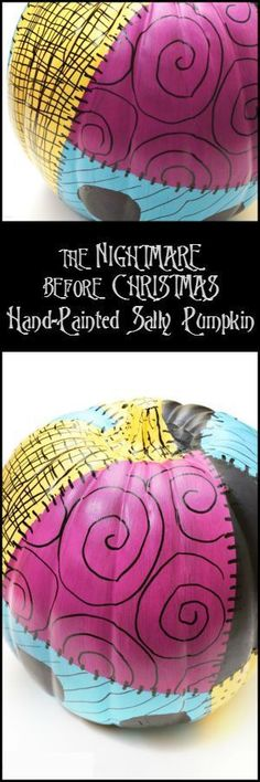 The Nightmare Before Christmas Hand-Painted Sally Pumpkin Get the instructions for this fun Disney Halloween craft from As The Bunny Hops! It's the perfect Disney DIY for any fan of The Nightmare Before Christmas! Nightmare Before Christmas Decorations, Nightmare Before Christmas Halloween, Halloween Decorations, Halloween Desserts, Soirée Halloween, Holidays Halloween, Halloween Pumpkins, Halloween Inspo, Painted Pumpkins