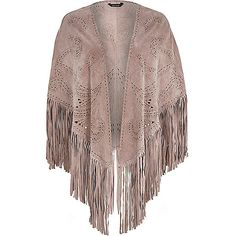 Light pink studded fringed suede cape - capes / ponchos - accessories - women