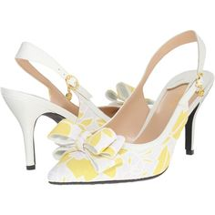 J. Renee Charise (Yellow/White) Women's Shoes (€45) ❤ liked on Polyvore featuring shoes, sandals, yellow, yellow shoes, pointed toe shoes, white shoes, pointy toe slingbacks and bow shoes
