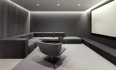 Random Inspiration 75 Inspiration for Abrahama/Bonnie's modern home design: Customize gray sectional/ black leather chair/ cove lighting – Heimkino Systemdienste Home Design, Home Theater Room Design, Home Cinema Room, Home Theater Rooms, Theatre Design, Modern House Design, Modern Interior Design, Design Ideas, Design Design