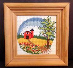 "Vtg Cross Stitch Springtime Country Farm Red Barn Framed 7.25"" Square"