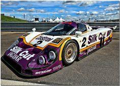 Jaguar return to Le Mans with Silk Cut and TWR and won. Sports Car Racing, Sport Cars, Jaguar, Road Race Car, Le Mans 24, Ferrari, Classic Race Cars, Porsche, Vintage Race Car