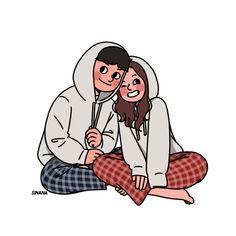 This is Sinana Illustrator based on fashion illustration. Cartoon Art Styles, Cute Art Styles, Cartoon Icons, Cartoon Drawings, Cute Couple Comics, Cute Couple Art, Cute Couple Cartoon, Cute Couple Drawings, Cute Drawings