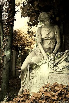 Statue in the Autumn Garden... now the leaves have dried & fallen, leaving a new kind of beauty.