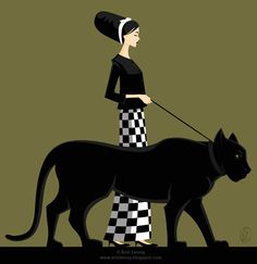 Lady and her Panther pet. Inspired by a magazine ad I saw for Louis Vuitton (Set design: Daniel Buren). Interested in purchasing? Please email erinleongart@gmail.com.
