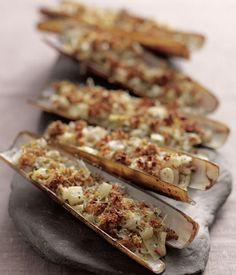 Grilled razor clams with chilli, fennel and thyme recipe on Great British Chefs Clam Recipes, Thyme Recipes, Seafood Recipes, Low Carb Recipes, Fish Recipes, Cooking Recipes, Grilled Seafood, Fish And Seafood, Razor Clams Recipe