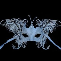 Amazon.com: White Deluxe Venetian Butterfly Metal Half Mask: My Mask