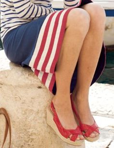 Red, white and blue nautical attire Looks Style, Style Me, Preppy Style, Nautical Looks, Nautical Style, Nautical Fashion, Nautical Clothing, Blue Fashion, Stripes