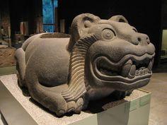 Ancient Aztec jaguar shaped cuauhxicalli at the Museo Nacional de Antropología, Mexico City.