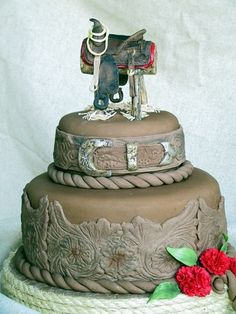 Love this cowboy and cowgirl cake!!