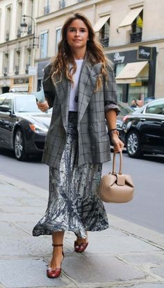 Miroslava Duma with a Gabriela Hearst bag.