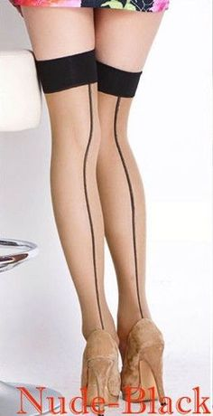 d89bdbca6dbef 2015 New Fashion Sexy Women Ladies Heal Seamed Seam Thigh High Stockings  Hose Black/Red/Nude HK for Xmas Z1