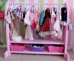american+girl+doll+clothes+rack | ... the girls a ton of doll clothes and this little rack to hang them on