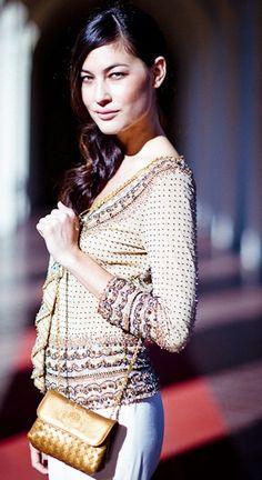 Bright and sunny in an  Escada sequin top and Bottega Veneta bag   BottegaVeneta ClothesHeaven.com 62d8c060b8b92