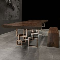SQUARES BASE by Hudson Furniture - Dining table with geometric bronze base - also available in steel - live edge Geometric Furniture, Unique Furniture, Rustic Furniture, Furniture Design, Furniture Ideas, Furniture Nyc, Furniture Dolly, Furniture Market, Furniture Removal