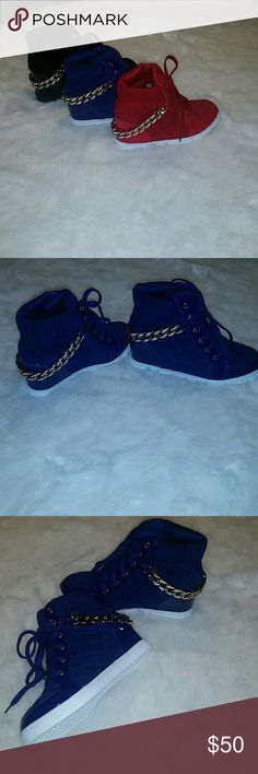 Blue Wedge Sneakers Brand New | Gold Chain Can Be Removed | More Sizes Will Be Added Shoes Sneakers