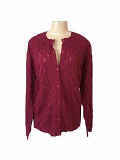 Blair Burgundy Button Front Long Sleeve Light Weight Knit Fabric Cardigan XL | eBay